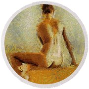 Sitting Nude II Round Beach Towel