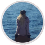 Sitting On Suitcase Round Beach Towel by Joana Kruse