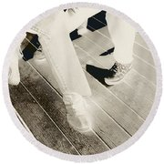 Sitting Together-duotone Round Beach Towel