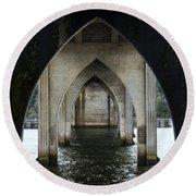 Siuslaw River Bridge Florence Oregon Round Beach Towel