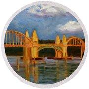 Siuslaw River Bridge Round Beach Towel
