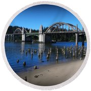 Siuslaw River Bridge Oregon Round Beach Towel