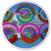 Six American Spring Icons Round Beach Towel