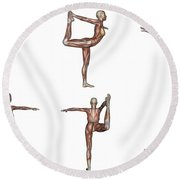 Six Different Views Of Dancer Yoga Pose Round Beach Towel