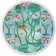 Six Of Cups Round Beach Towel