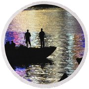 Six On A Boat Round Beach Towel