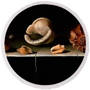Six Shells On A Stone Shelf Round Beach Towel