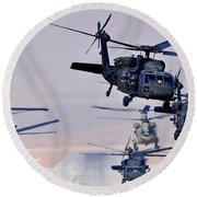 Six Uh-60l Black Hawks And Two Ch-47f Chinooks Round Beach Towel