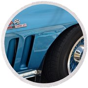 Sixty Six Corvette Roadster Round Beach Towel by Frozen in Time Fine Art Photography