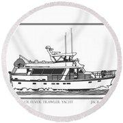 Sixtyfive Foot Defever Trawler Yacht Round Beach Towel by Jack Pumphrey