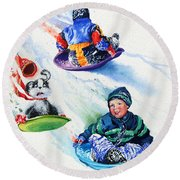 Sizzling Saucers Round Beach Towel