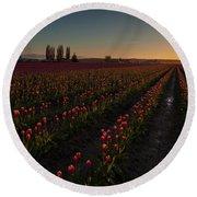 Skagit Dusk Tulip Fields Round Beach Towel