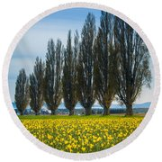 Skagit Trees Round Beach Towel by Inge Johnsson