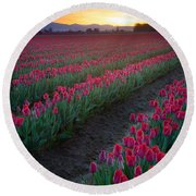Skagit Valley Blazing Sunrise Round Beach Towel