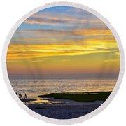 Skaket Beach Sunset 5 Round Beach Towel