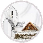 Skalholt Church Round Beach Towel