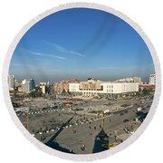 Skanderberg Square In Tirana Albania Round Beach Towel
