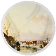 Skaters By A Booth On A Frozen River Round Beach Towel
