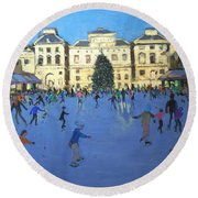 Skaters  Somerset House Round Beach Towel by Andrew Macara
