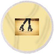 Skates In Motion Round Beach Towel