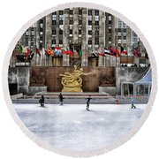 Skating At Rockefeller Plaza Round Beach Towel