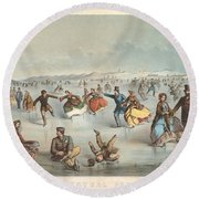 Skating In Central Park. New York Round Beach Towel