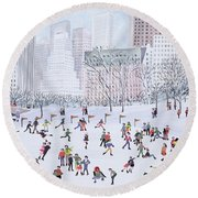 Skating Rink Central Park New York Round Beach Towel
