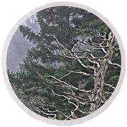 Skeletal Treescape Round Beach Towel