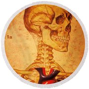 Skeleton And Heart Model Round Beach Towel