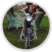 Skeleton Biker On Motorcycle  Round Beach Towel