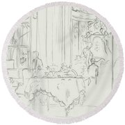 Sketch Of A Formal Dining Room Round Beach Towel