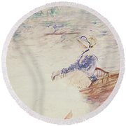 Sketch Of A Young Woman In A Boat Round Beach Towel