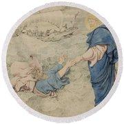 Sketch Of Christ Walking On Water Round Beach Towel by Richard Dadd