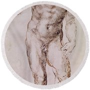 Sketch Of David With His Sling Round Beach Towel by Michelangelo Buonarroti