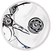 Sketch Of The Hard Disk Round Beach Towel by Michal Boubin