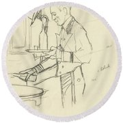 Sketch Of Waiter Pouring Wine Round Beach Towel