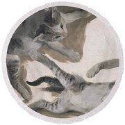 Sketches Of A Kitten Round Beach Towel