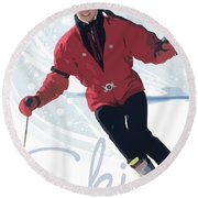 Ski 3 Round Beach Towel