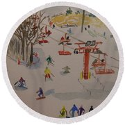 Ski Area Round Beach Towel