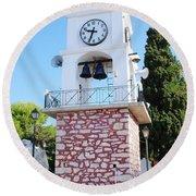 Skiathos Clock Tower Round Beach Towel
