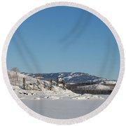 Skidoo Track On Frozen Lake Round Beach Towel