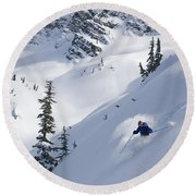Skier Hitting Powder Below Nak Peak Round Beach Towel