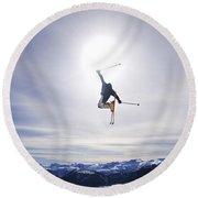 Skier Jumping, Courtenay, Bc Round Beach Towel