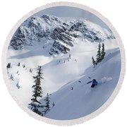 Skier Shredding Powder Below Nak Peak Round Beach Towel
