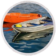 Skiffs At The Harbour Round Beach Towel