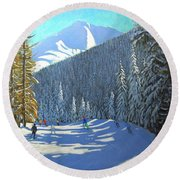 Skiing  Beauregard La Clusaz Round Beach Towel by Andrew Macara