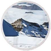 Skiing Down A Storm Round Beach Towel