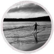 Skimboarder Sunser #1 - Black And White Round Beach Towel