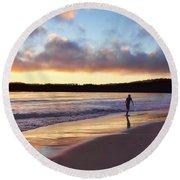 Skimboarder Sunset #2 Round Beach Towel