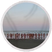 Skinny Dipping Down A Moon Beam Round Beach Towel